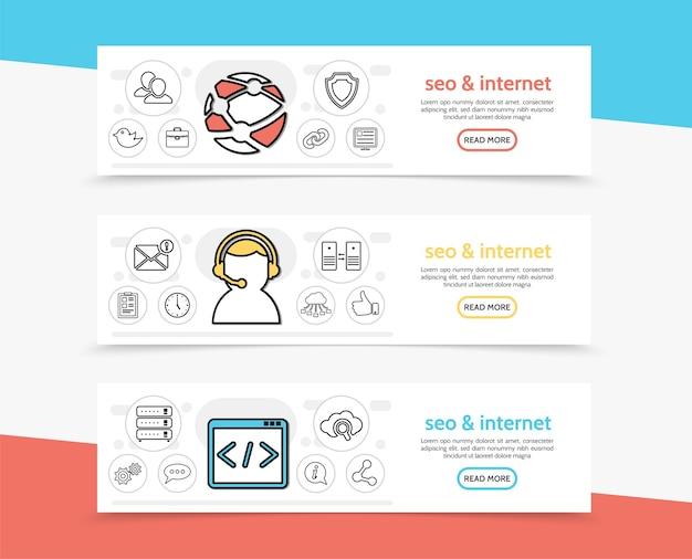 Banners horizontais de seo e internet