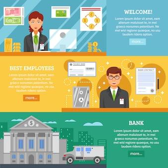 Banners horizontais de serviço bancário