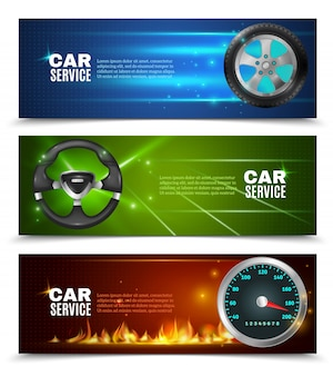 Banners horizontais de serviço de carro