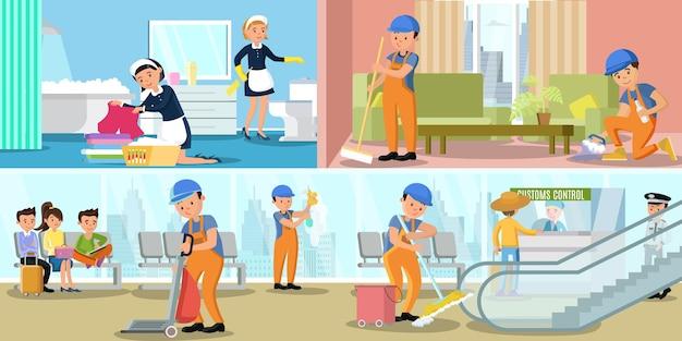 Banners horizontais de serviço de empresa de limpeza