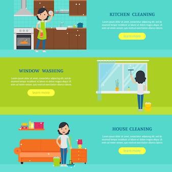 Banners horizontais de serviço de limpeza