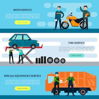Banners horizontais de serviços de reparo coloridos