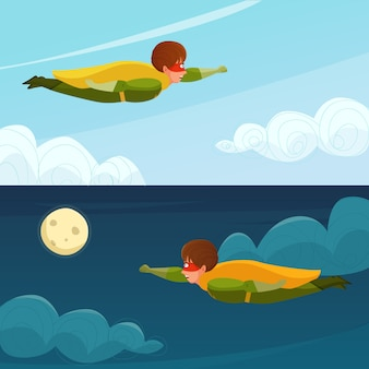 Banners horizontais de super-herói de menino voador