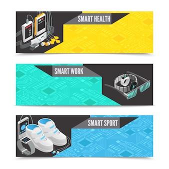 Banners horizontais de tecnologia wearable com ilustração em vetor inteligente isométrica gadgets