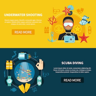 Banners horizontais de tiro subaquático