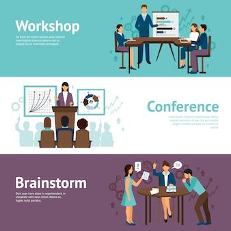 Banners horizontais de treinamento de negócios