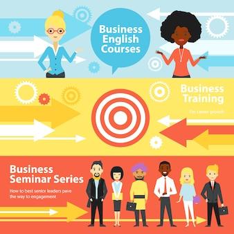 Banners horizontais de treinamento empresarial