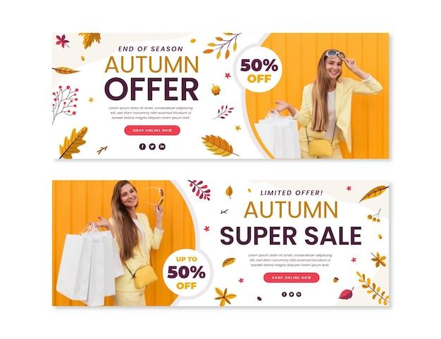 Banners horizontais de venda de outono com foto