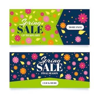 Banners horizontais de venda de primavera