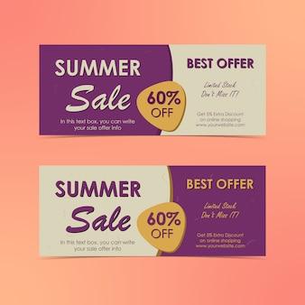 Banners horizontais de venda de verão