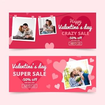 Banners horizontais de venda do dia dos namorados