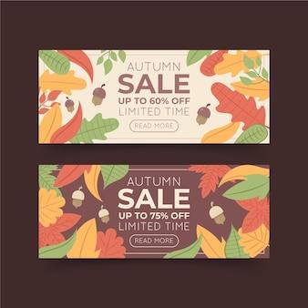 Banners horizontais de venda outono