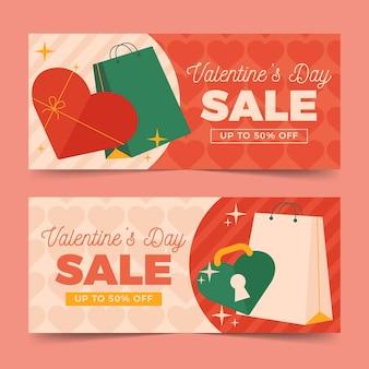 Banners horizontais de venda plana do dia dos namorados