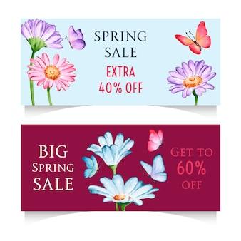 Banners horizontais de venda primavera aquarela