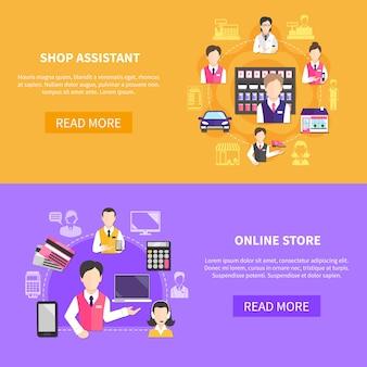 Banners horizontais de vendedor com imagens de texto editáveis para ler mais botões de itens e ícones de balconista
