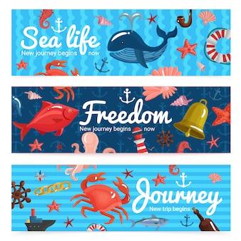Banners horizontais de viagem marítima