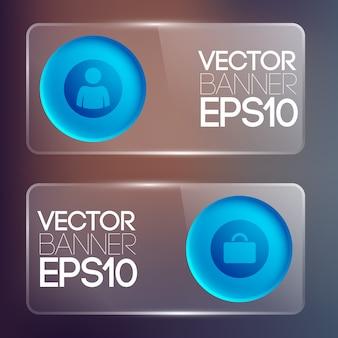 Banners horizontais de vidro comercial com botões redondos azuis e ícones isolados