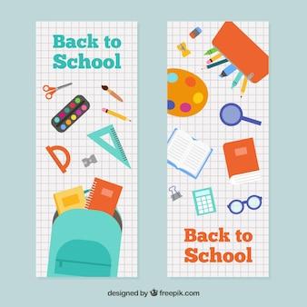 Banners horizontais de volta para escola em design plano