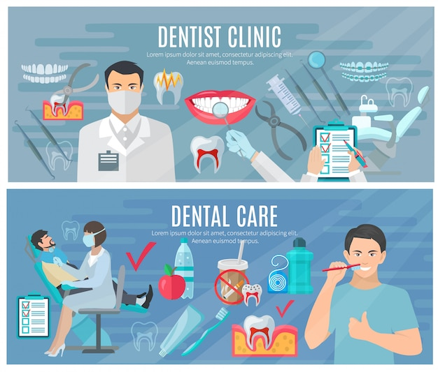 Banners horizontais dentista conjunto com símbolos de clínica e atendimento odontológico