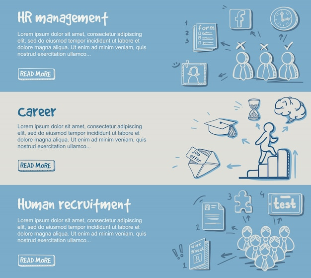 Banners horizontais desenhados à mão para desenvolvimento de carreira