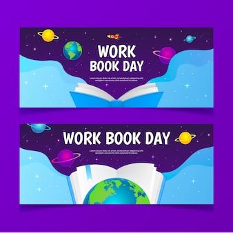 Banners horizontais desenhados à mão para o dia mundial do livro