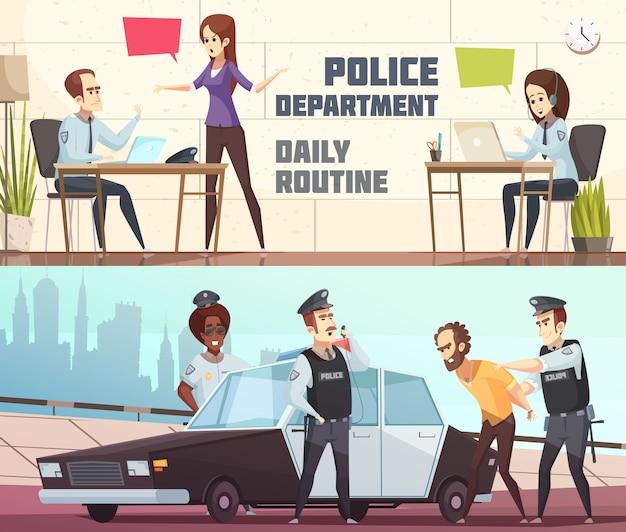 Banners horizontais do departamento de polícia