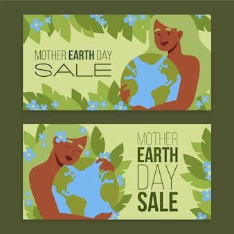 Banners horizontais do dia da mãe terra desenhados à mão