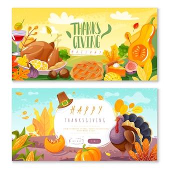 Banners horizontais do dia de ação de graças. dois banners horizontais em estilo de desenho animado com o tema de ação de graças e itens isolados de ícones tradicionais de férias em família no festival da colheita