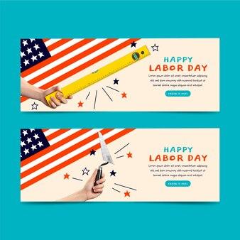 Banners horizontais do dia do trabalho com foto