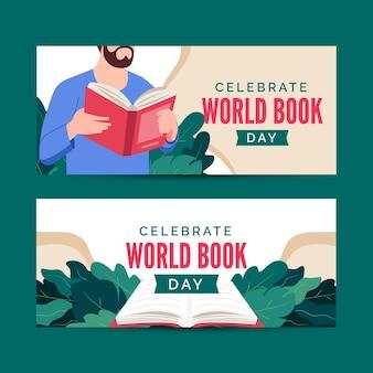 Banners horizontais do dia mundial do livro