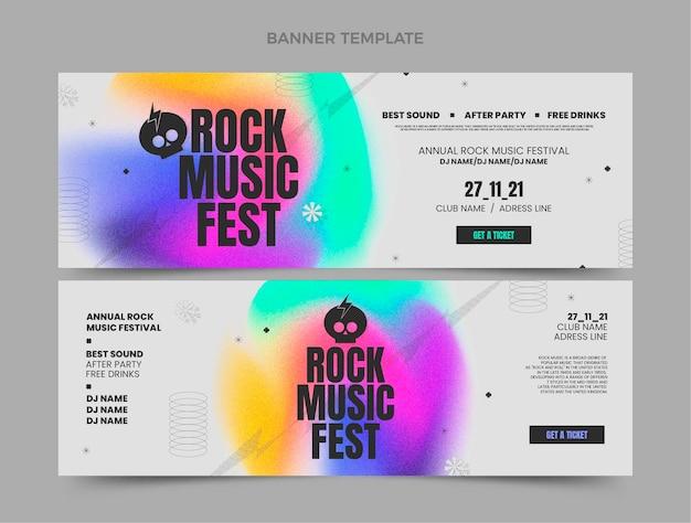 Banners horizontais do festival de música com textura gradiente