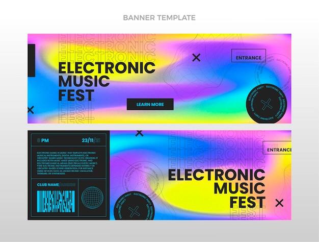 Banners horizontais do festival de música de textura gradiente