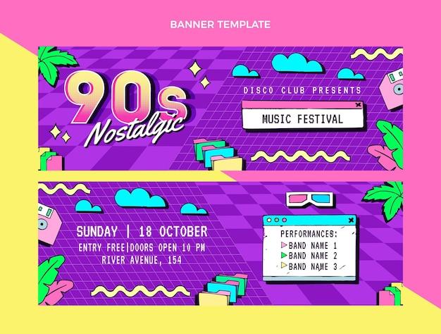 Banners horizontais do festival de música dos anos 90 desenhados à mão