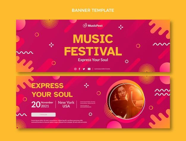 Banners horizontais do festival de música em meio-tom gradiente