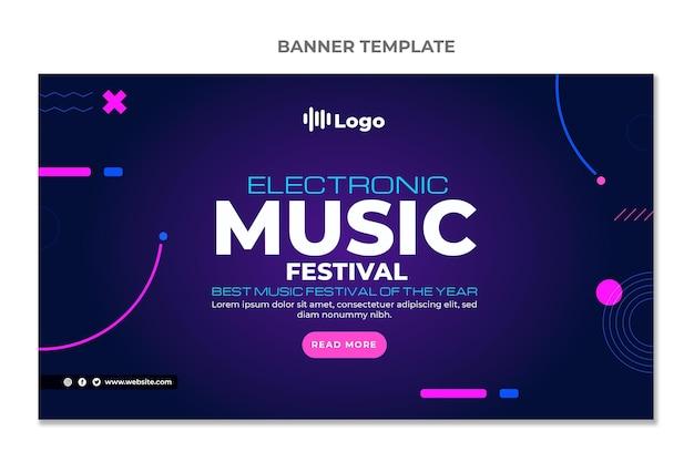 Banners horizontais do festival de música gradiente