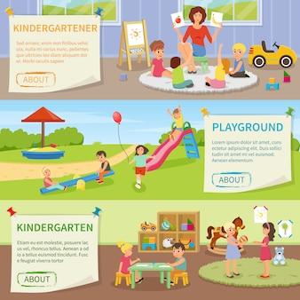 Banners horizontais do jardim de infância