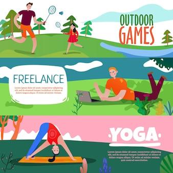 Banners horizontais do parque descanso conjunto com símbolos de ioga plana isolados