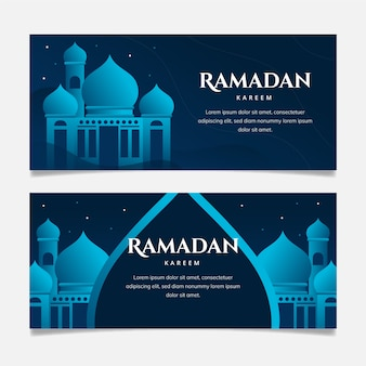 Banners horizontais do ramadan design plano com detalhes azuis