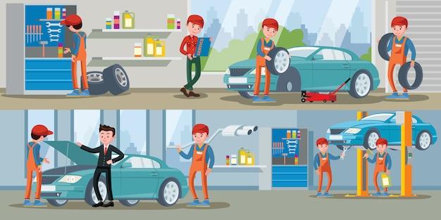 Banners horizontais do serviço de automóveis
