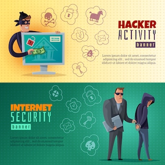 Banners horizontais dos desenhos animados de hacker