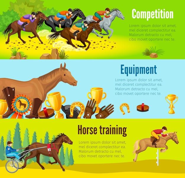 Banners horizontais equestres em desenhos animados