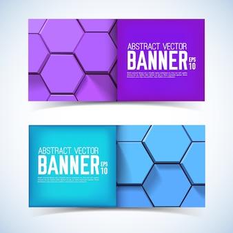 Banners horizontais geométricos abstratos com hexágonos 3d roxos e azuis em estilo mosaico isolados