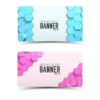 Banners horizontais geométricos abstratos com hexágonos azuis e rosa