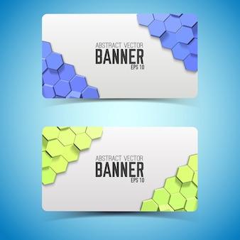 Banners horizontais geométricos com hexágonos coloridos
