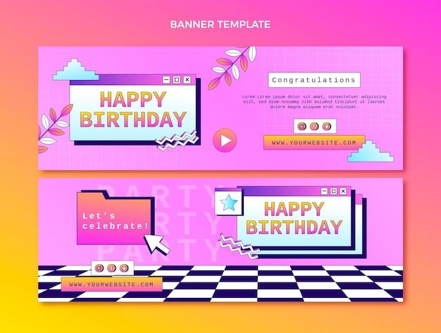 Banners horizontais gradiente retrô vaporwave de aniversário