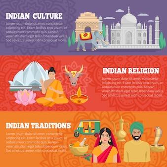Banners horizontais índia conjunto com tradições religião e cultura