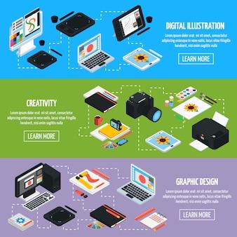 Banners horizontais isométicos para design gráfico