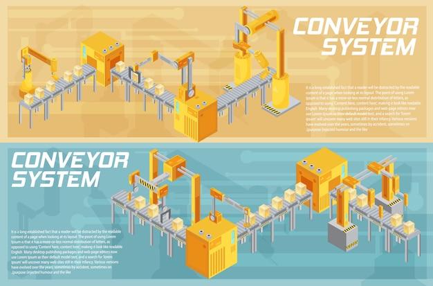 Banners horizontais isométricos com sistema de transporte, incluindo soldagem e embalagem em ilustração vetorial de plano de fundo texturizado isolado