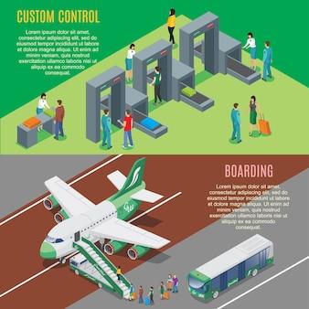 Banners horizontais isométricos de aeroporto com controle de portões de segurança e processo de embarque do avião