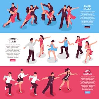 Banners horizontais isométricos de dança